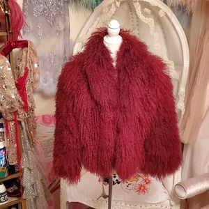 Topshop Real Mongolian Red Fur Sheepskin Coat sz 6